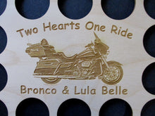 Load image into Gallery viewer, Custom Casino Poker Chip Display Frame Insert Personalized 11X14 wood insert Fits 36 Harley chips Two Hearts One Ride Valentines Day