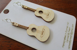 Custom Engraved Ukulele or Guitar Earrings Laser-engraved dangle birch cute earrings Gift for Teens Sisters Christmas Gift Music Lovers Gift