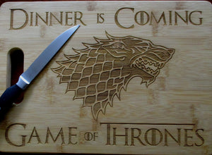 Custom Game of Thrones Bamboo Cutting Board Dinner is Coming Engraved small or large bamboo cutting board Cheese board Christmas Gift GOT