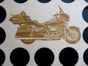 Motorcycle Engraved Poker Chip Frame Display Insert Fits 36 Harley or Casino chips 11 X 14 natural birch chip holder Large #18
