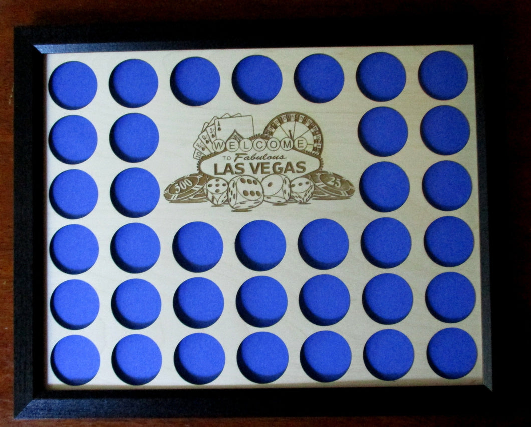 Las Vegas Poker Chip Display Insert and Frame Father's Day Gift Las Vegas Chip display insert and frame Laser-engraved