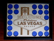 Load image into Gallery viewer, Custom Poker Chip Display Frame With Laser-engraved Vegas Insert Fits 20 Casino chips Black frame Christmas Gift Welcome to Las Vegas