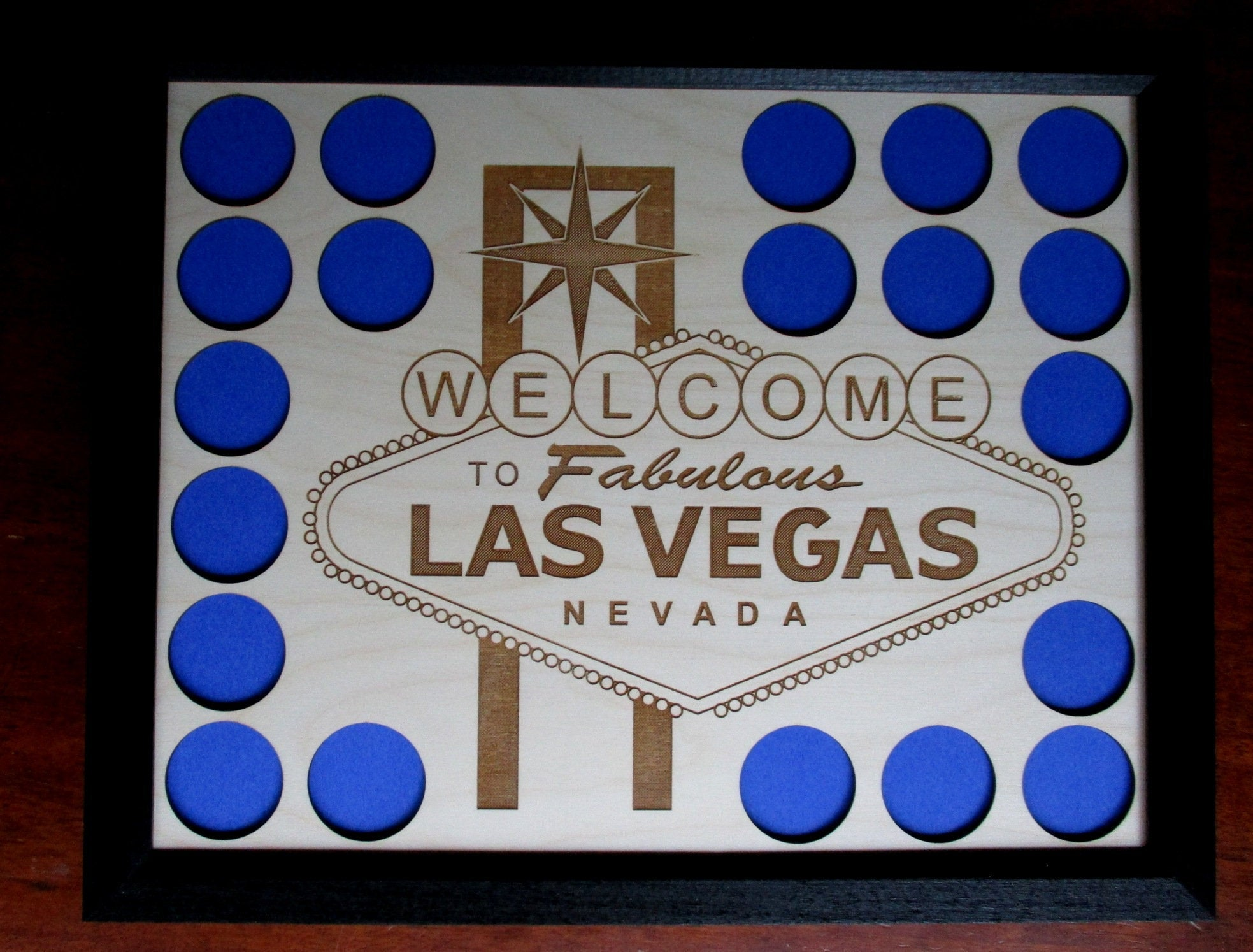 Personalized Photo-engraved Poker Chip Display Frame Insert Holds 36 Harley-Davidson or casino chips Photo-engraved 11 X 14 photo insert