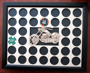 Custom Poker Chip Frame Display Fits 36 Harley-Davidson chips Father's Day Gift Engraved chip insert with bike cut-out and black frame