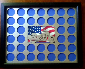 Poker Chip Display Frame Insert in silver, natural birch, black Fits 36 Harley-Davidson chips 11x14 Laser-engraved motorcycle American flag