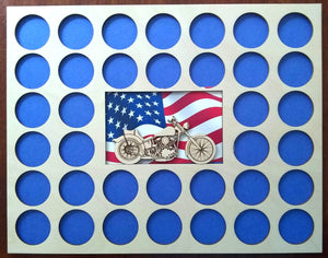 Poker Chip Display Frame with Engraved insert Fits 36 Harley-Davidson chips Father's Day Motorcycle with American flag 1-585