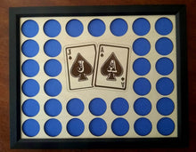 Load image into Gallery viewer, Custom Poker Chip Frame Display Insert Jack and Ace Engraved with frame option Fits 33 Casino chips 11x14 natural birch Christmas gift
