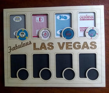 Load image into Gallery viewer, Las Vegas Poker Chip Display Frame with cut-outs for Playing Cards and Casino Chips Poker Player Gift Laser-engraved Souvenir Vegas