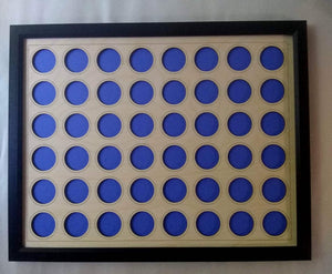 "Poker Chip Display Frame Laser-engraved Holds 48 Casino or Harley-Davidson chips 14x18"" insert With Black frame UV Protected Glass"