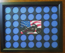 Load image into Gallery viewer, Poker Chip Display Frame Insert in silver, natural birch, black Fits 36 Harley-Davidson chips 11x14 Laser-engraved motorcycle American flag
