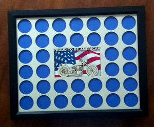 Poker Chip Display Frame with Engraved insert FREE SHIPPING Proud to be American Flag Fits 36 Harley-Davidson chips Motorcycle Lovers' Gift