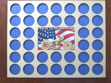 Load image into Gallery viewer, Poker Chip Display Frame with Engraved insert FREE SHIPPING Proud to be American Flag Fits 36 Harley-Davidson chips Motorcycle Lovers' Gift