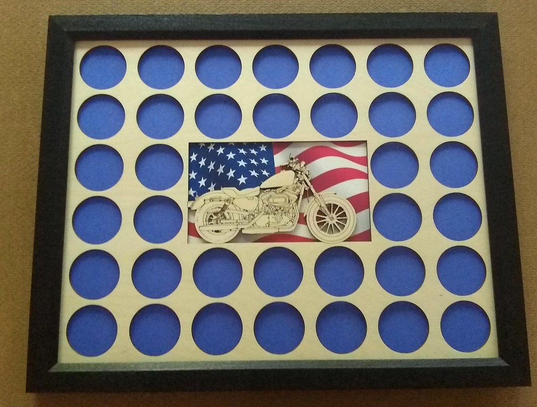 Poker Chip Display Frame with Engraved Motorcycle 2019 Cut-out insert American Flag Fits 36 Harley-Davidson chips Motorcycle Lovers' Gift