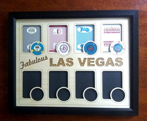 Las Vegas Poker Chip Display Frame with cut-outs for Playing Cards and Casino Chips Poker Player Gift Laser-engraved Souvenir Vegas