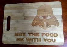 Load image into Gallery viewer, Custom Bamboo Cutting Board Star Wars Engraved Small and Large cheese board May the food be with you Christmas Gift
