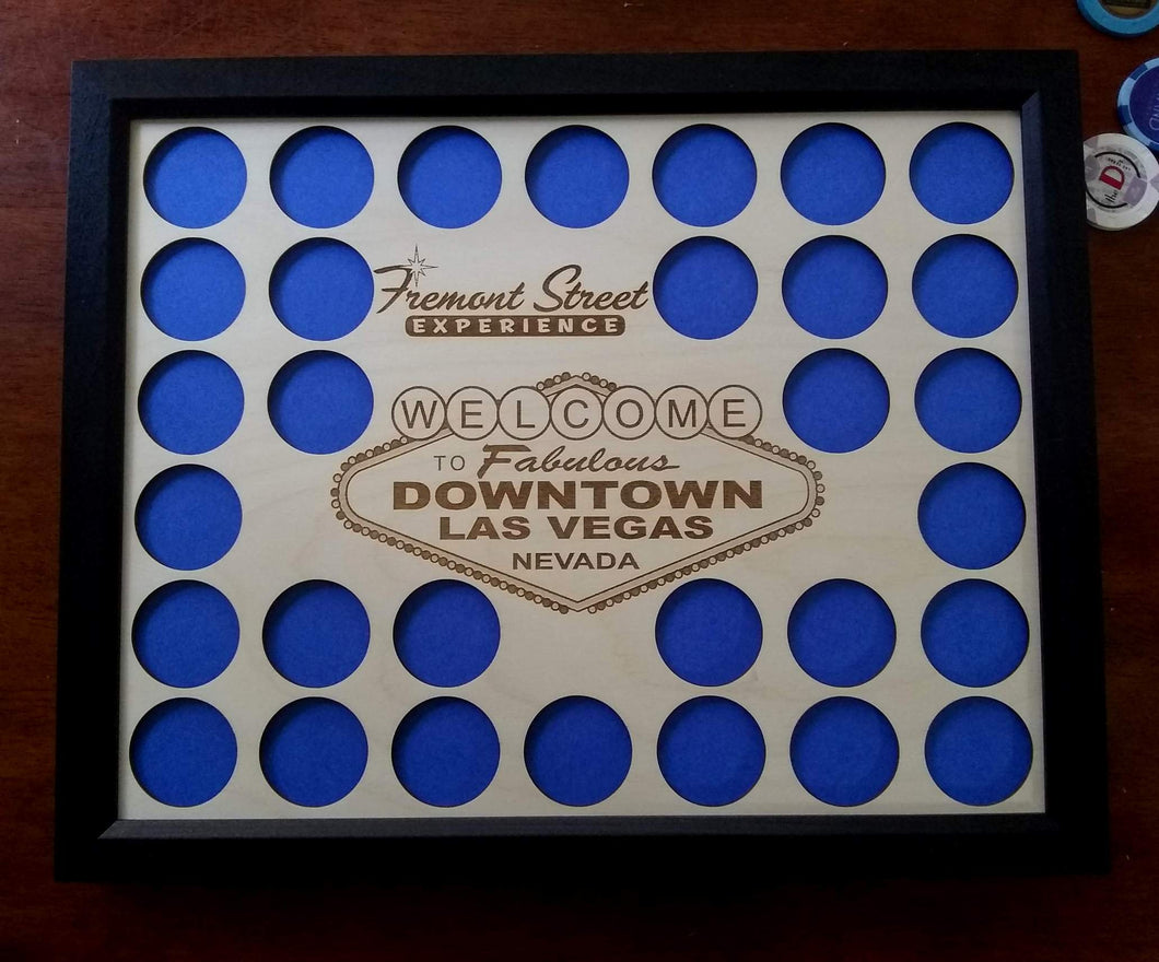 Las Vegas Poker Chip Display Insert Fremont Street Experience Las Vegas 11x14 Chip display insert Frame option Downtown Vegas Laser-engraved