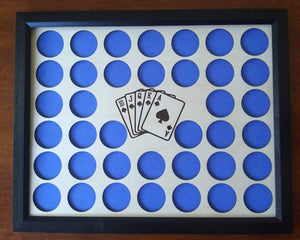 Custom Poker Chip Display Insert and Frame for 38 chips Laser-engraved insert Royal Flush Cards Include Frame Option-With or Without