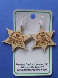 Custom Engraved Earrings Fallout: New Vegas Laser-engraved dangle birch earrings Sunset Sarsaparilla Deputy Badge earrings