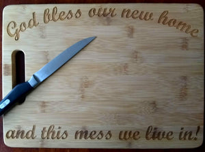 Custom Bamboo Cutting Board New Home This mess we live in Engraved Small or Large cheese board Couples Gift House Warming Gift Christmas