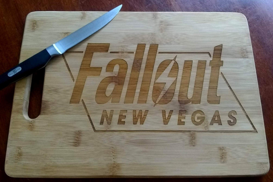 Custom Bamboo Cutting Board Fall Out New Vegas Engraved Small and Large cheese board Christmas Gift