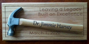 Personalized Laser-engraved Hammer Appreciation Gift Father's Day gift Retirement Groomsmen gift Hanging award plaque Red oak award display