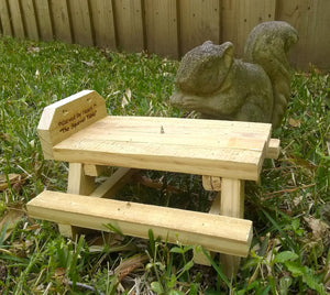 Squirrel Picnic Table Bird Chipmunk Feeder Wildlife Rustic Crafted from fence boards Outdoor Yard Decor The Squirrel Table
