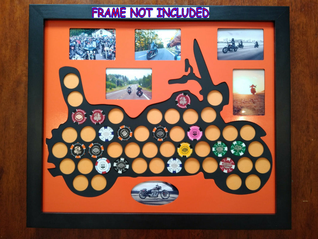 Custom Poker Chip Motorcycle Frame Display for 50 Harley-Davidson chips Photo Insert