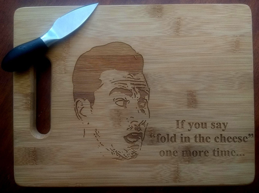 Custom Cutting Board David Rose If you say fold in the cheese Bamboo cheese board Large or small engraved Schitt's Creek Christmas Gift
