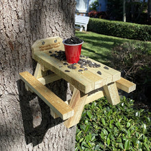 Load image into Gallery viewer, Squirrel Picnic Table Bird Chipmunk Feeder Wildlife Rustic Crafted from fence boards Outdoor Yard Decor The Squirrel Table
