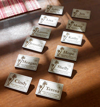 Load image into Gallery viewer, Custom Name Tags Laser-engraved personalized name badges Magnetic name tags for conferences Wood name badges