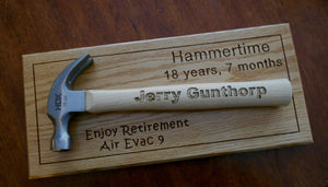 Personalized Laser-engraved Hammer Father's Day gift Retirement Groomsmen gift Hanging award plaque Red oak award display