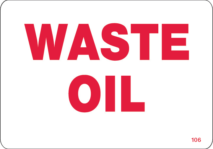 Waste Oil- $6.40 Per Decal