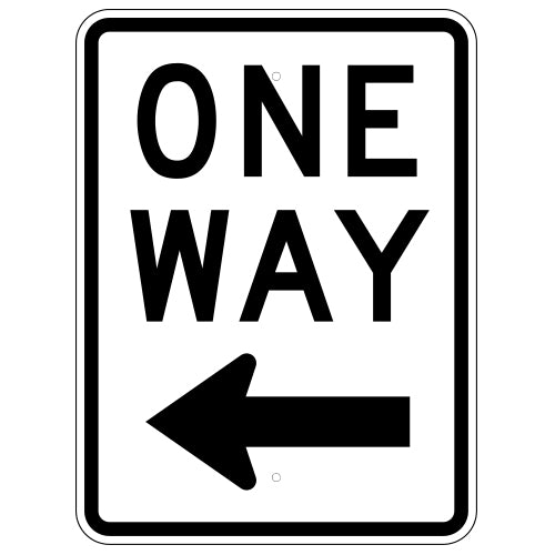 One Way Sign, with Left Arrow
