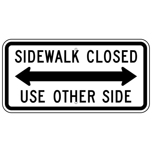 Sidewalk Closed Cross Here, with Left Arrow