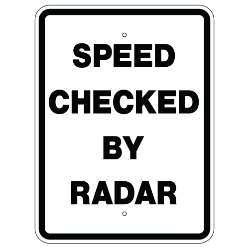 Speed Checked by Radar Sign