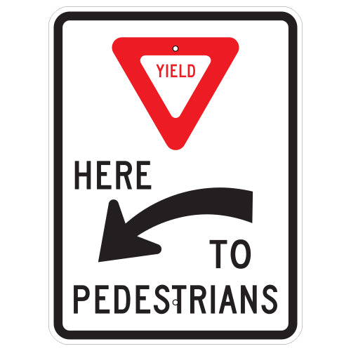 Yield Here To Pedestrians Sign, Left