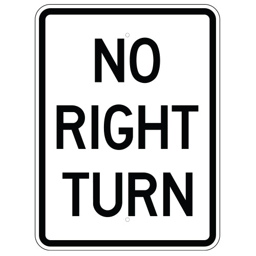No Right Turn Sign (Vertical)