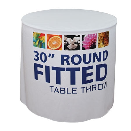 "30"" Round Draped Table Throw With Graphic"