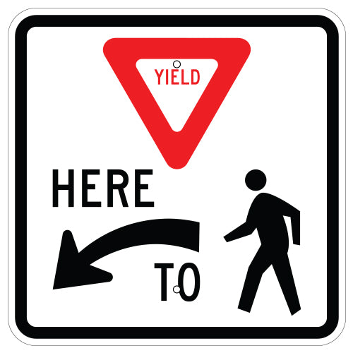 Yield Here To Pedestrians Symbol Sign, Left