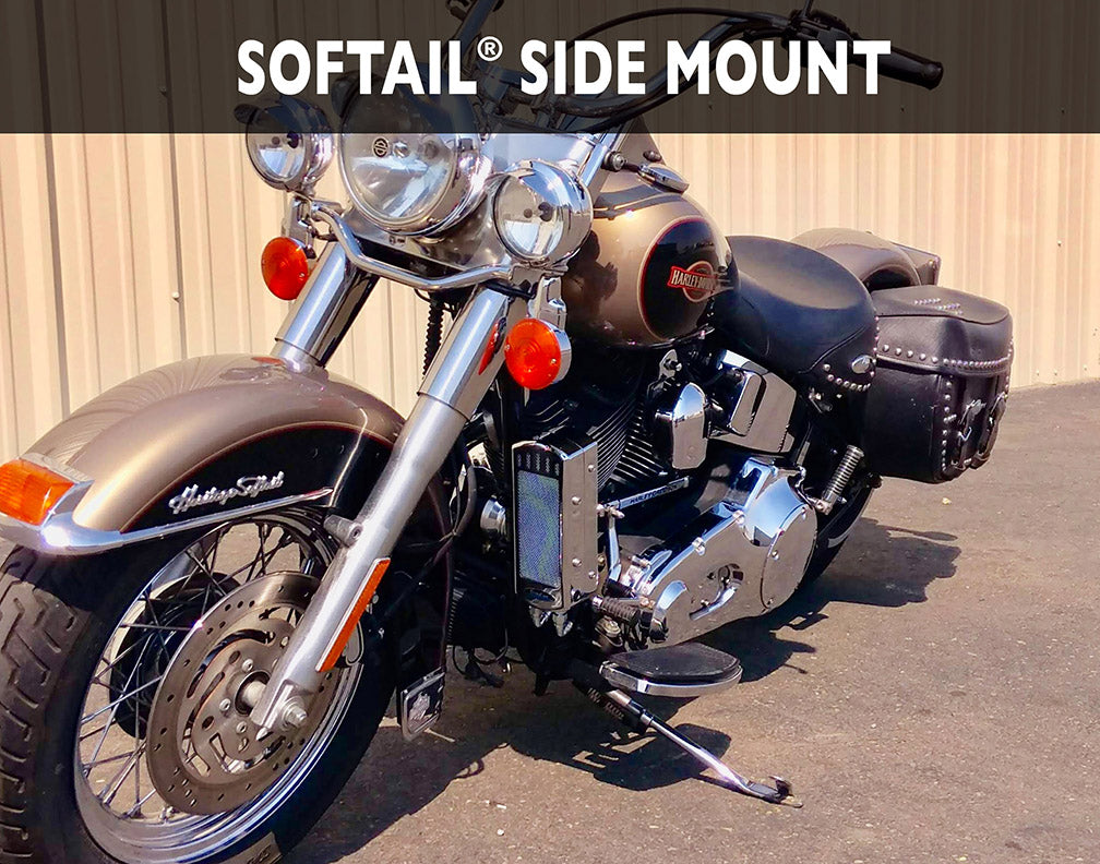 Softail 1985-2017 3.0 Dual Fan Assisted Side Mount on Down Tube Oil Cooler