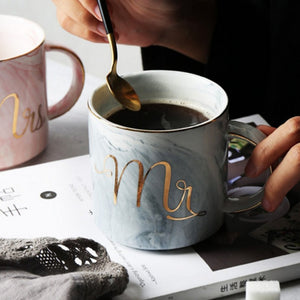 Mr and Mrs Ceramic Marble Mug