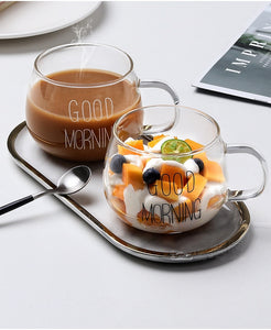 Letter Printed Transparent Creative Glass Coffee Tea Drinks Dessert Breakfast Milk Cup Glass Mugs Handle Drinkware