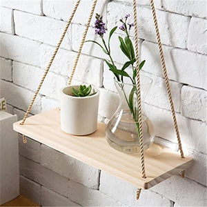Premium Hanging Rope Wood Swing Shelves