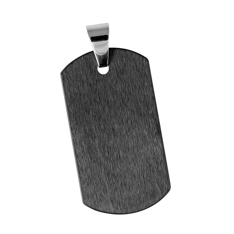 Brushed Finish Tungsten Dog Tag Pendant - Engravable