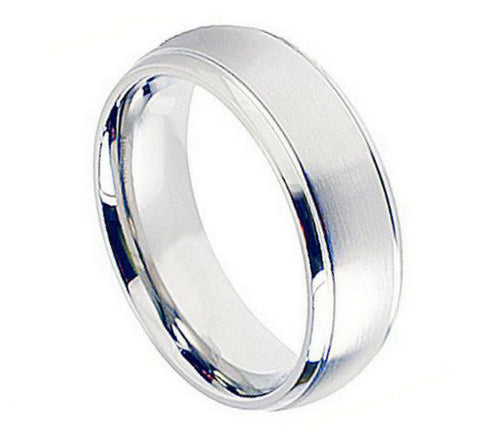 Cobalt Ring Satin Finish with Shiny Grooved Edges-8mm
