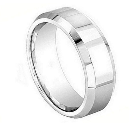 Cobalt Ring Polished Finish with Beveled Edges-8mm