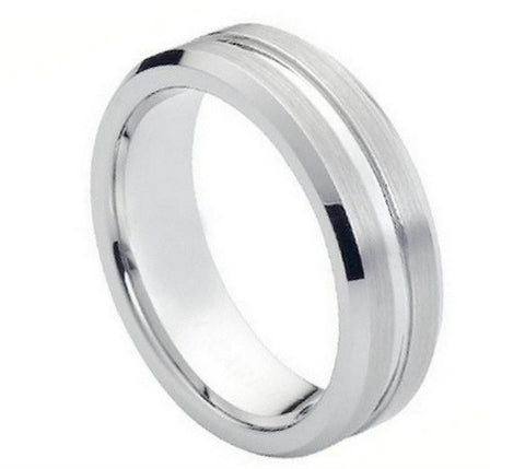 Cobalt Ring Satin Finish with Shiny Grooves-7mm