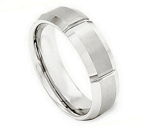 Cobalt Ring Satin Finish with Straight Grooves-7mm