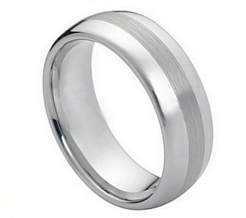 Cobalt Ring Polished with Brushed Strip Design-8mm