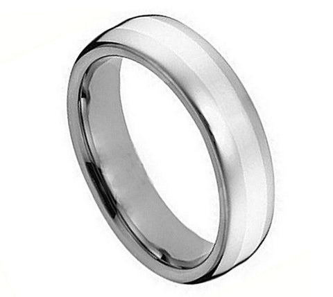 Cobalt Ring Polished with Brushed Strip Center-5mm